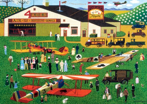 Buffalo Games Charles Wysocki: Four Aces Flying School - 300 Piece Jigsaw Puzzle by Buffalo Games