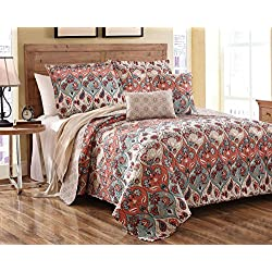 Dada Bedding Multi Floral Paisley Garden Party Reversible Bedspread Quilt Set, Queen, 3-Pieces