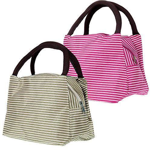LEFV™ Picnic Lunch Bag Tote Travel Zipper Organizer Box for Adults and Students Reusable Foods and Snacks Lunch Box Container with Tote and Zipper Design, Pack of 2, Rose&Khaki (Upright Freezer Organizer compare prices)