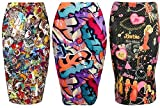 LADIES WOMENS GIRLS BARBIE DOLL MULTI COLOUR GRAFFITI PRINT BODYCON PENCIL SKIRT