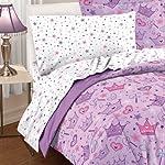 Purple Princess Stars and Crowns 5 Piece Twin Comforter Set