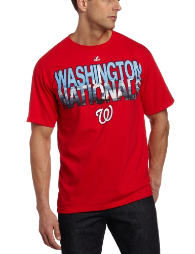 MLB Men&#039;s Washington Nationals City Window Short Sleeve Basic Tee (Athletic Red, Large) at Amazon.com