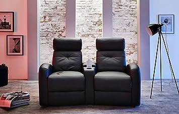 2er Kinosessel, Cinema - Heimkino Sessel - TV Sofa - Relaxcouch - Kunstleder schwarz, verstellbar, Liegefunktion