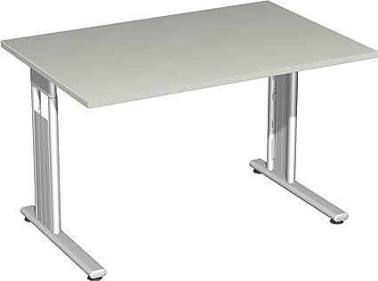 Gera Möbel S-618102-LG/si scrivania LISBONA, 120 x 80 x 72 cm, Grigio/Argento