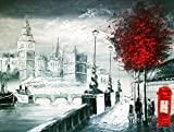 A Brilliant City of London Canvas Print, Popular London Embankment Street Scene, Canvas Giclee Art Print, Hot London Design, Romantic London City Walkway Allong the Thames with View of the Big-ben, Iconic London Printed Artwork, London Theme Black White Red Art Print. Beautiful Red Tree and Phone Box.