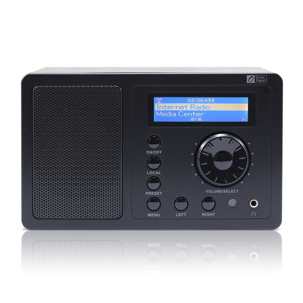 Ocean Digital Internet Radio WR220 Wifi Wlan Receiver Tuner Wireless Connection Music Media Player Desktop Music Alarm Clock- Black