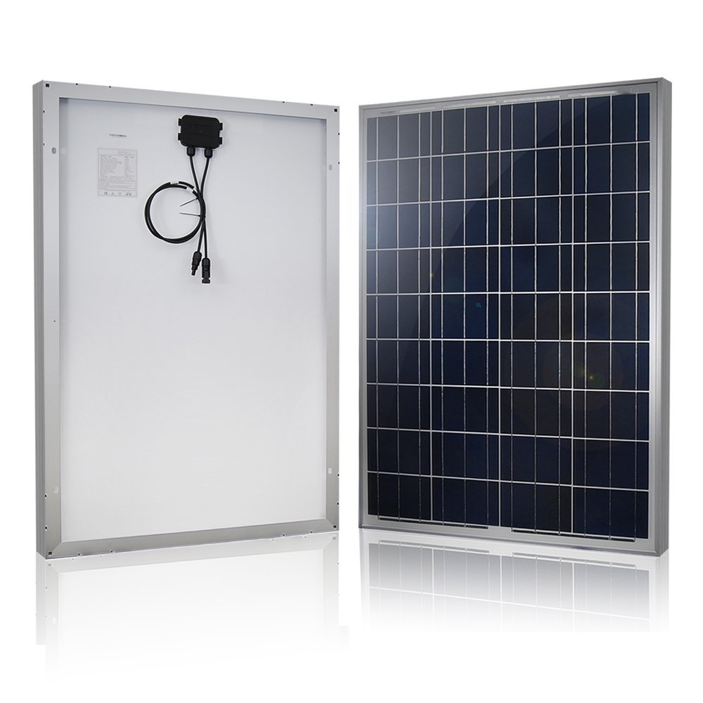 HQST 100 Watts 12 Volts Polycrystalline Solar Panel Off-Grid RV and Boat Kit with 30A PWM LCD Display Charge Controller + Adaptor Cables + Mounting Brackets