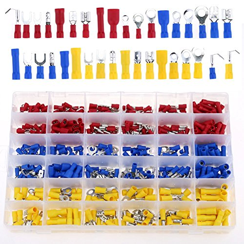 Glarks 540pcs 22-16 / 16-14 / 12-10 Gauge Mixed Quick Disconnect Electrical Insulated Butt Bullet Spade Fork Ring Solderless Crimp Terminals Connectors Assortment Kit