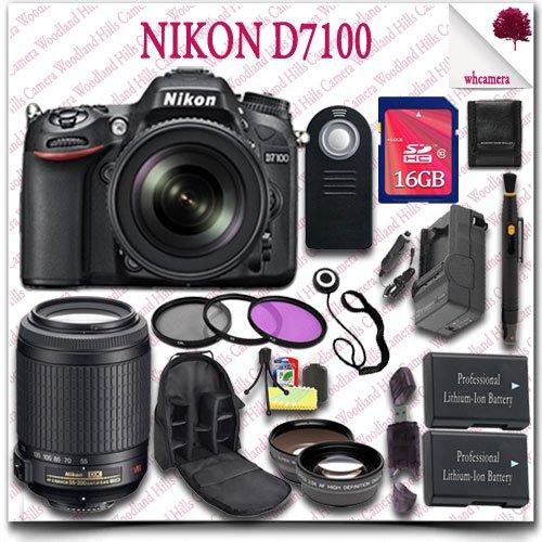 Nikon D7100 Digital Slr Camera With 18-105Mm Af-S Dx Vr Ed Lens (Black) + Nikon 55-200Mm Af-S Dx Vr Lens + 16Gb Sdhc Class 10 Card + Wide Angle Lens / Telephoto Lens + 3Pc Filter Kit + Slr Camera Backpack + Wireless Remote 21Pc Nikon Saver Bundle