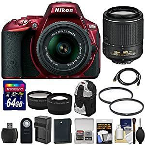 Nikon D5500 Wi-Fi Digital SLR Camera & 18-55mm G VR DX II (Red) with 55-200mm VR Lens + 64GB Card + Backpack + Battery & Charger + Wide/Tele Lens Kit