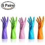 HTLKJ 5 Pairs of Reusable Waterproof Household Rubber Latex Cleaning Gloves,Kitchen Gloves. (Tamaño: Medium)