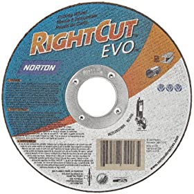 "Norton Gemini Stainless Steel Right Cut Small Diameter Reinforced Abrasive Cut-Off Wheel, Type 01, Aluminum Oxide, 7/8"" Arbor, 6"" Diameter x 0.045"" Thickness (Pack of 1)"