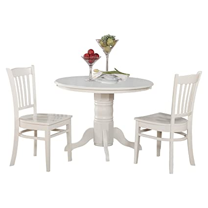 East West Furniture SHGR3-WHI-W 3-Piece Kitchen Nook Dining Table Set, Linen White