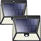 82 LEDs Solar Motion Sensor Lights Outdoor, ZOOKKI Super Bright Waterproof Solar Powered Wall Lights Outside, Wireless Security Lights Night Light for Garden Fence Deck Yard Garage Driveway-2 Pack (Color: Black, Tamaño: 82 LEDs 2pack)