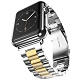 U191U Band Compatible with Apple Watch 42mm Stainless Steel Wristband Metal Buckle Clasp iWatch Strap Replacement Bracelet for Apple Watch Series 3/2/1 Sports Edition (Silver/Gold, 42MM) (Color: Silver/Gold, Tamaño: 42 mm)