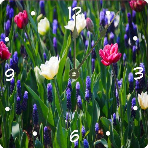 "Rikki Knighttm Blue, White And Pink Flowers Design 6"" Art Desk Clock front-647198"