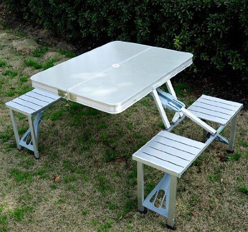 Why Should You Buy Daitai Outdoor Aluminum Portable Folding Camp Suitcase Picnic Table with 4 Seats,...