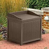 Suncast Suncast Resin 22-Gallon Outdoor Storage Bench Seat - Mocha Brown - SSW1200