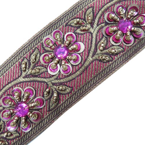 Gold Bead Pink Sequin Stone Ribbon Trim Sewing 1 Yd