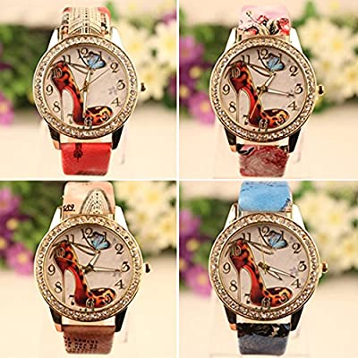 Sanwood Women's Rhinestone High-Heeled Shoe Wrist Watch