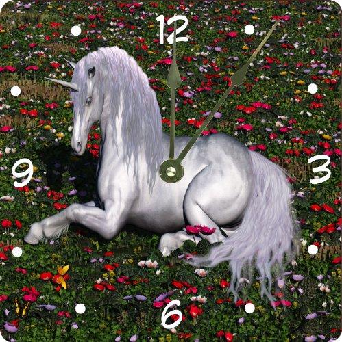 "Rikki Knighttm White Unicorn On Enchanted Flower Field Design 13"" Art Wall Clock front-638401"