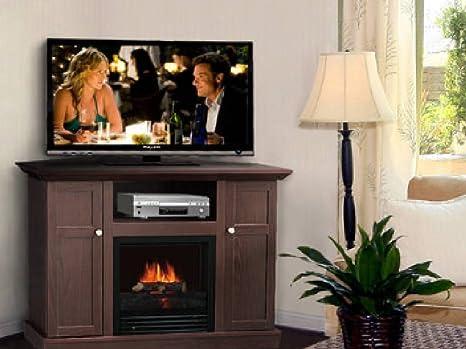 Corner Electric Fireplace & TV Stand Entertainment Center Dark Brown