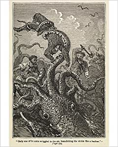Photographic Print of Illustration of giant squid attack from Twenty Thousand Leagues Under The