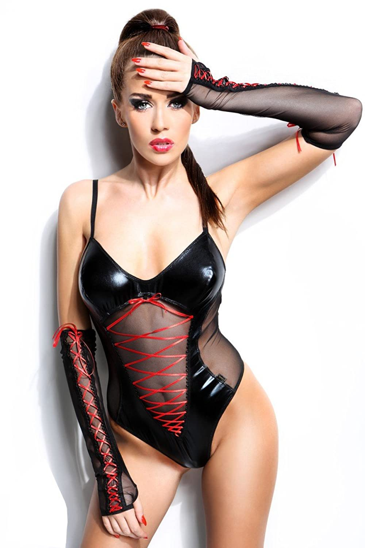 Dessous Sexy Body+Armstulpen Wetlook schwarz/rot Reizwäsche Clubwear Party
