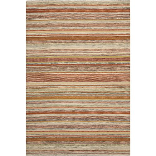 Safavieh Striped Kilim Collection STK311A Hand Woven Beige Wool Area Rug, 6 feet by 9 feet (6' x 9')