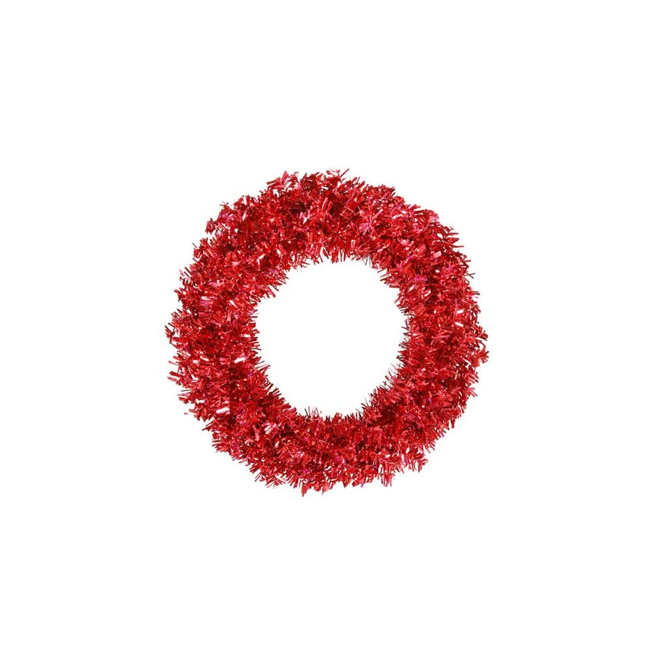 60 Pre Lit Red Hot Wide Cut Tinsel Artificial Christmas Wreath   Red Lights