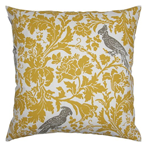 Cotton Throw Pillow Inserts : JinStyles Cotton Canvas Parrot Accent Decorative Throw Pillow Cover (Yellow & White, Square, 1 ...