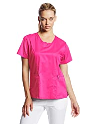Cherokee Women's Scrubs Luxe Jr. Fit V-Neck Top, Fuchsia Rose, Large