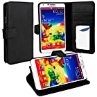 myLife Cool Black {Classy Design} Faux Leather (Card, Cash and ID Holder + Magnetic Closing) Slim Wallet for Galaxy Note 3 Smartphone by Samsung (External Textured Synthetic Leather with Magnetic Clip + Internal Secure Snap In Closure Hard Rubberized Bumper Holder)