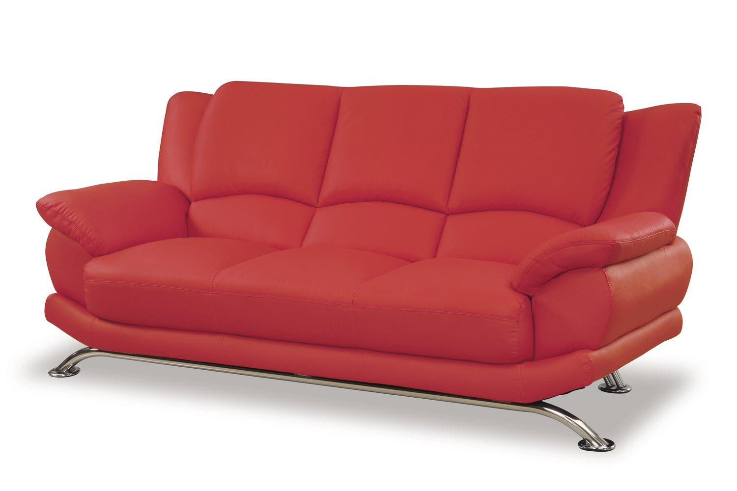 Global Furniture Rogers Collection Bonded Leather Matching Sofa 9908 Red With Chrome Legs