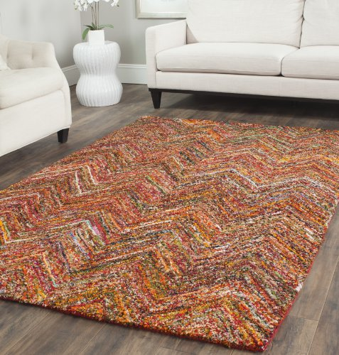 Safavieh Nantucket Collection NAN141B Handmade Multicolored Cotton Area Rug, 5 feet by 8 feet (5' x 8')
