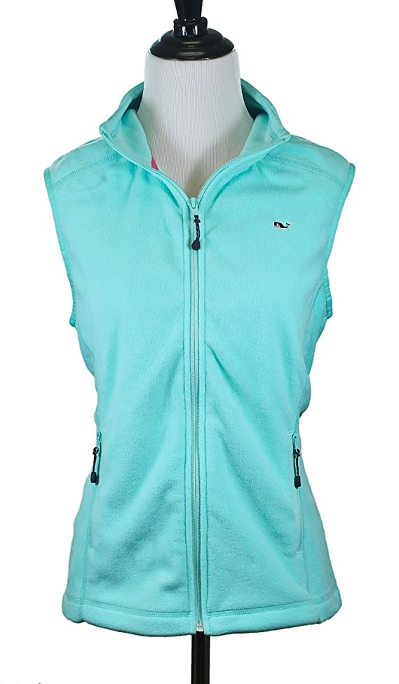 Vineyard Vines Womens Fleece Green Breakwater Sweater Collar Vest