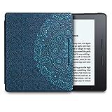 WALNEW Amazon Kindle Oasisカバー キンドルオアシス専用ケース 花の絵 素材クリア 最も薄く、最軽量の保護 レザーケース マグネット機能搭載 プレセール商品, ブルーな花