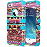 iPhone 5s Case, iPhone 5 Case, ULAK Designer Aztec Pattern Protective Case Cover for Apple iPhone 5S iPhone 5 Hybrid High Impact Soft Blue Silicone + Hard Pink PC with Clear Screen Protector