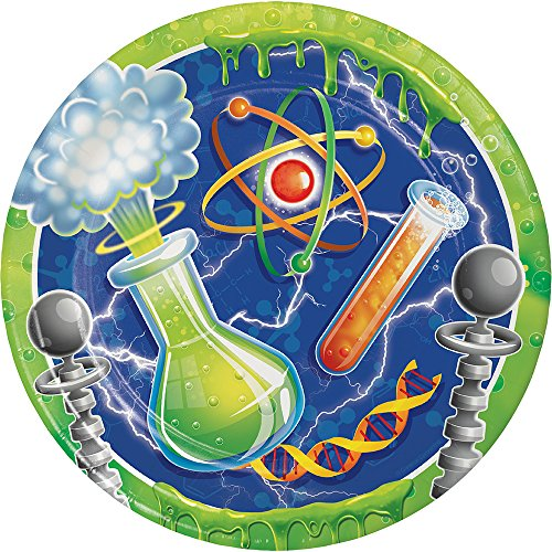 Creative Converting Mad Scientist Round Paper Plates (8 Count), 8.75