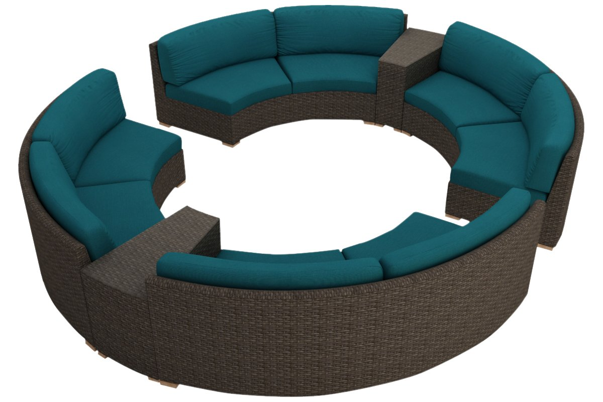 Harmonia Living 7 Piece Arden Curved Sectional Cushion Set - Spectrum Peacock