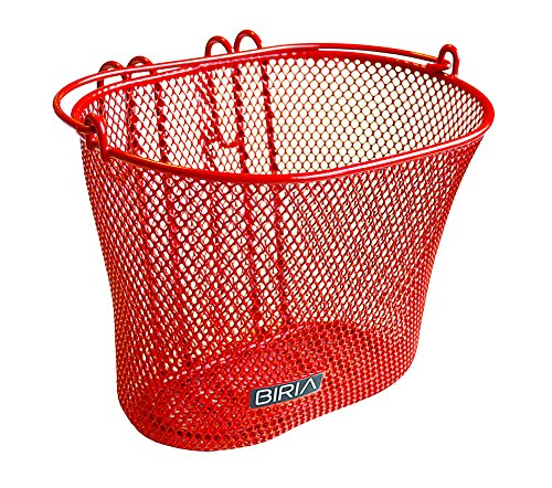 Basket-with-hooks-RED-Front-Removable-wire-mesh-SMALL-Bicycle-basket-RED