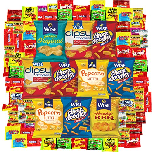 Snack Gift Party Bundle Care Package Variety Pack Cookies Chips & Candies Sampler 100 Count (Mint Chocolate Chip Gum compare prices)