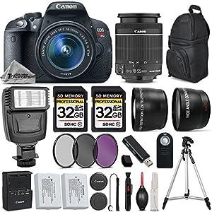 Canon EOS Rebel T5i DSLR Camera Full HD 1080p + Canon18-55mm IS STM Lens + .43x Wide Angle Lens + 2.2X Telephoto Lens + 3PC Filter Kit (UV-CPL-FLD) + 64GB Storage + Flash - International Version