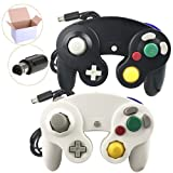 Poulep 2 Packs Classic Wired Gamepad Controllers for Wii Game Cube Gamecube Console (Black and White) (Color: A Black and White)