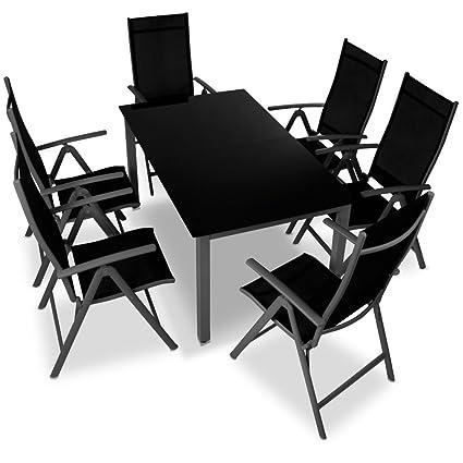 Miadomodo Alu-Sitzgarnitur Gartengarnitur Gartenmöbel 7-teilig (Tisch und Stuhle) aus Aluminium mit Farbwahl