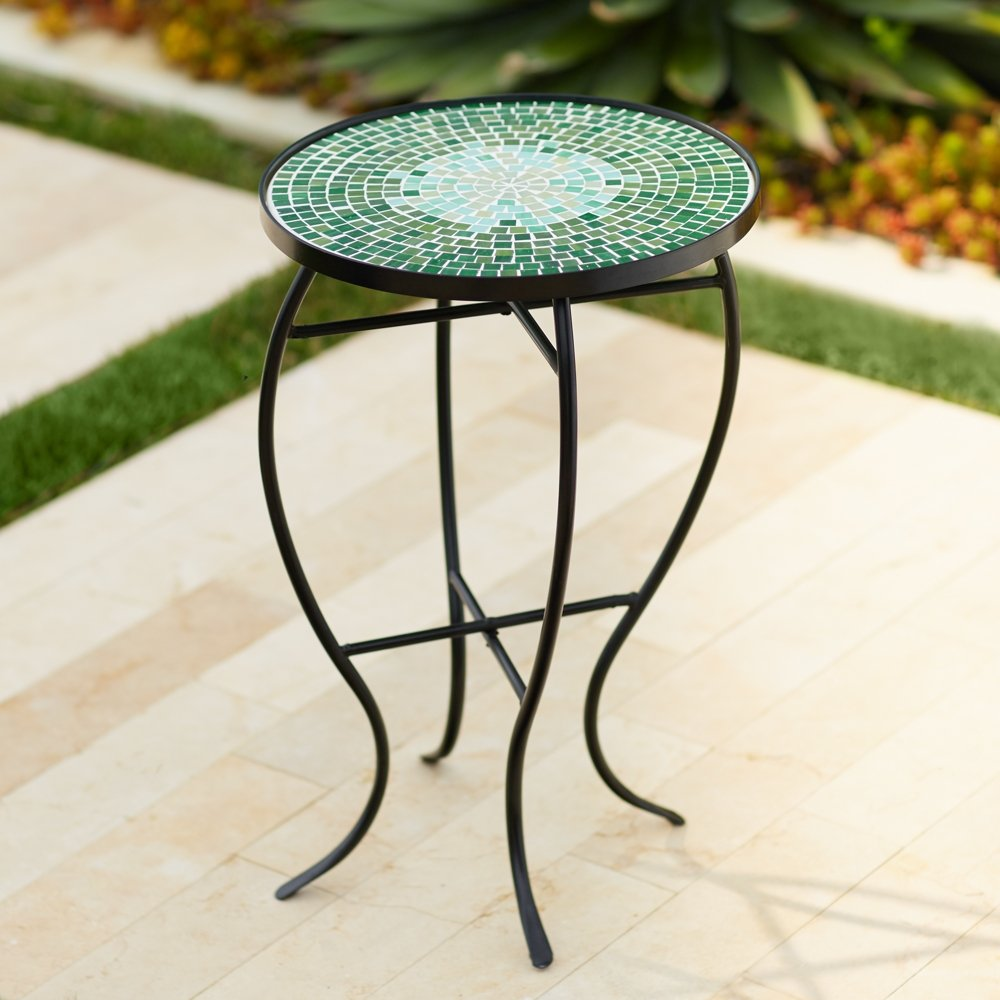 Bella Green Mosaic Outdoor Accent Table