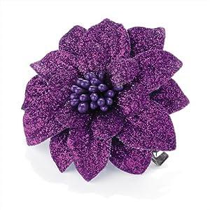 Small Purple Glitter Flower Hair Beak Clip Slide Fascinator