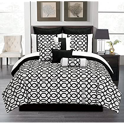 Awesome  Piece Queen Venturi Black and White Comforter Set