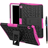 MediaPad T3 10 9.6 Inch Back Case DWaybox Hybrid Rugged Heavy Duty Armor Hard Back Cover Case with Kickstand for HUAWEI MediaPad T3 10 9.6 Inch (Hot PinK)
