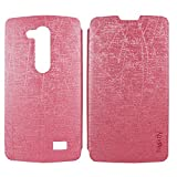 Heartly Premium Luxury PU Leather Flip Stand Back Case Cover For LG L Fino D295 Dual Sim - Cute Pink